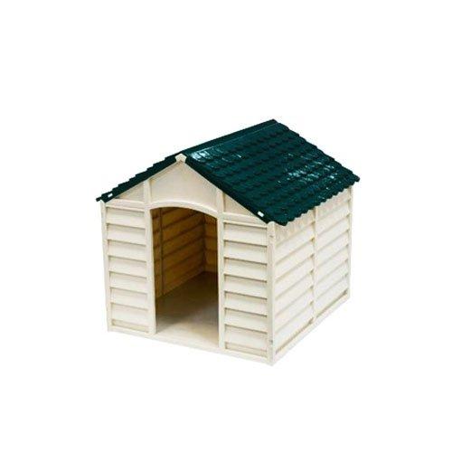 Cuccia per cani in Pvc per esterno colore grigio chiaro con tetto verde