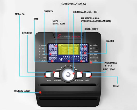 Vogatore Sportstech RSX500 - Display informativo